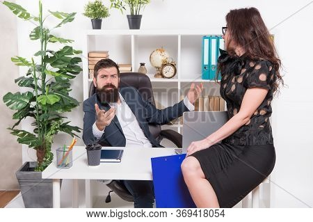 Im The Only Boss. Boss And Sexy Secretary In Office. Office Workers In Formalwear. Boss And Subordin