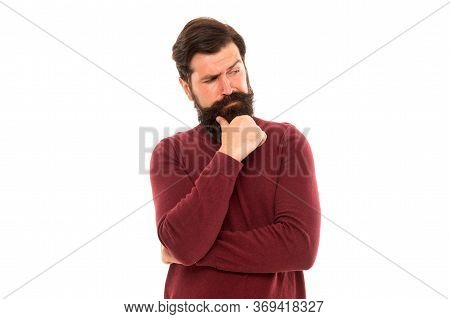 What Should I Do. Thoughtful Hipster With Beard. Hair Fashion And Beauty. Brutal Mature Man Expressi