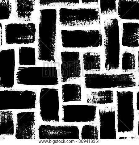 Grunge Rectangles Vector Seamless Pattern. Hand Drawn Brush Strokes Ornament. Ink Illusatrtion, Geom