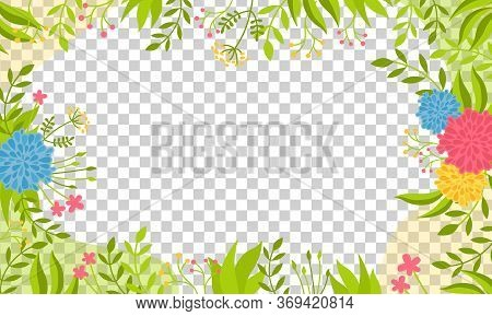 Transparent Background Bright With Floral Elements, Peonies. Trendy Creative Empty Card . Floral Fra