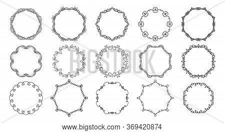 Circular Frameworks Divider Calligraphic Set. Round Flourishes Borders, Vegetable Whorls Vignettes D