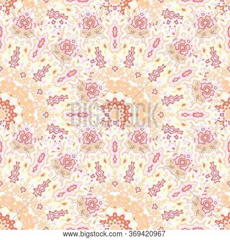 Kaleidoscope Floral Seamless Ornament. Islamic Ethnic Vector Graphic Design. Tangle Stylish Mandala