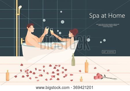 Landing Web Page Template With Lovers In Bath Enjoying With Romantic Dating Enjoying Drinking Wine.