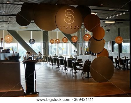 Kaohsiung, Taiwan -- April 14, 2019: A Restaurant In The Public Areas Of The Recently Completed Nati
