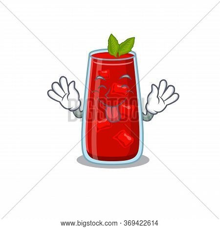 Funny Bloody Mary Cocktail Cartoon Design With Tongue Out Face