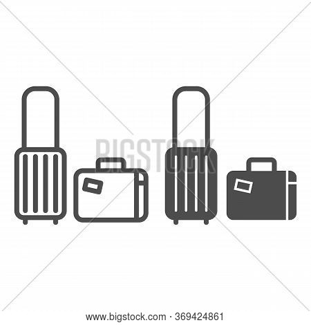 Travel Suitcases Line And Solid Icon, Luggage Concept, Traveling Suitcase Sign On White Background,