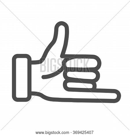 Promise Hand Gesture Line Icon, Gestures Concept, Fist With Elongated Little Finger Sign On White Ba