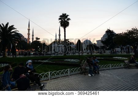 Istanbul,turkey - November 3, 2019:sultanahmet Evening Square With A View Of The Sultanahmet Mosque,