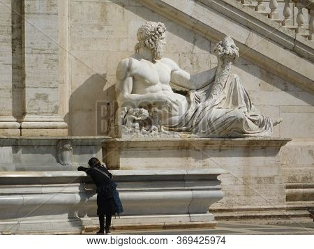 Rome, Italy, April 21 2017.an Ancient Statue Of The Rome Empire. Tiber's River's God Statue