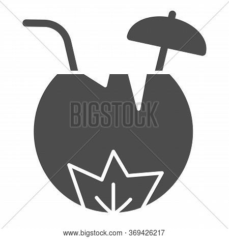 Coconut Cocktail Solid Icon, Summer Concept, Summer Beach Cocktail In Coconut Sign On White Backgrou