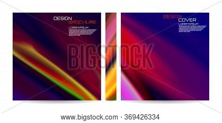 Brochure Template With Colorful Futuristic Wavy Shapes. Magazine, Poster, Book, Presentation, Advert