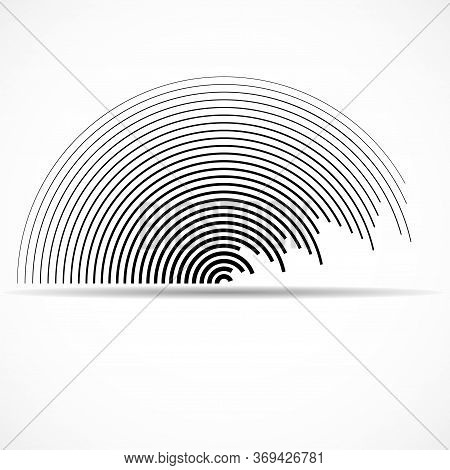 Abstract Logo Of Semicircles With Lines Isolated On White Background, Striped Geometric Shape, Vecto