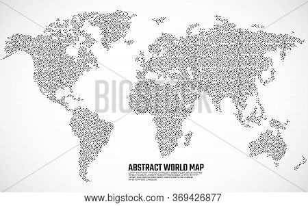 Abstract Dotted World Map. World Map With Points And Dots. Vector Illustration