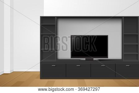Lcd Tv On Black Showcase And Cabinet In The Livingroom