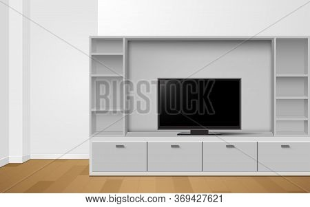 Lcd Tv On White Showcase And Cabinet In The Livingroom