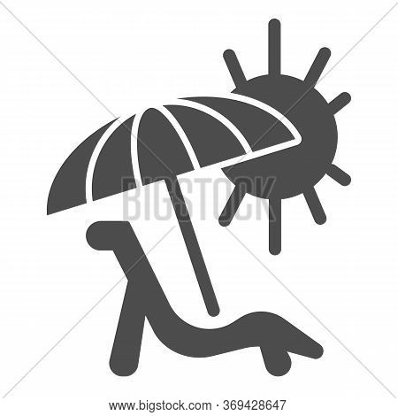 Deck Chair With Umbrella And Sun Solid Icon, Summer Concept, Chaise Lounge On Beach Sign On White Ba