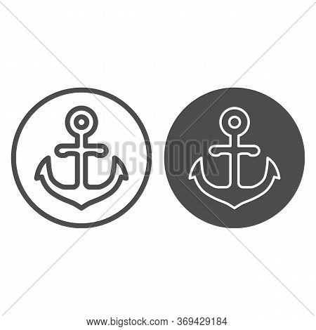 Anchor Emblem In Round Shape Line And Solid Icon, Marine Concept, Anchor Sign On White Background, N