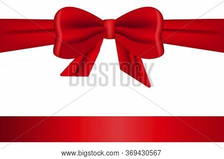 Gift Red Ribbon With A Bow. Satin Silk Ribbon For Packaging. Vector Image. Stock Photo.