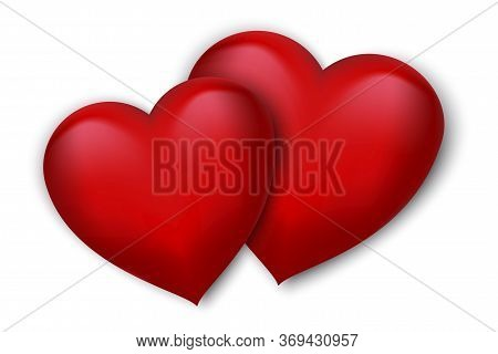 Icon Of Two Red 3d Hearts. Illustration Pictures Of Love. Wedding Background. Stock Photo. Vector Im