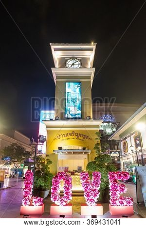 Bangkok, Thailand - February 10, 2020: The Night View To The Market Asiatique The Riverfront By Chao
