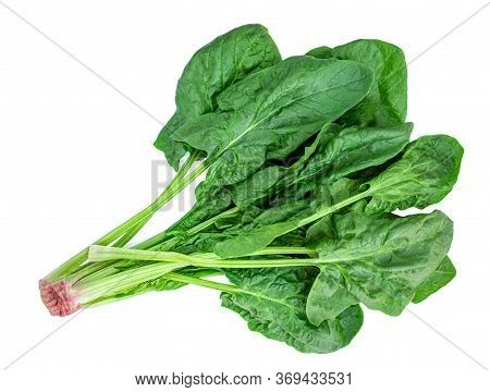 Spinach Leaves Isolated On White Background. Fresh Green  Spinach Pile  Top View. Flat Lay.