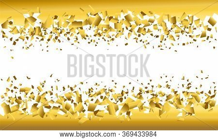 Background Explosion With Debris. Isolated Gold Illustration On White Background. Concept, Template