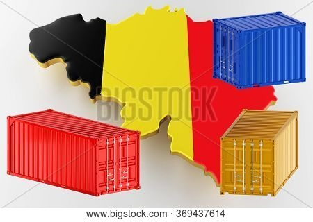 3d Map Of Belgium. Freight Shipping In Containers. Export From The Country In Containers. 3d Renderi