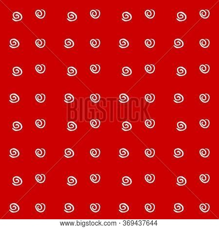 Seamless Pattern Texture Of Simple Vector White Elements Spirals Helixes On Red Background. For Gree