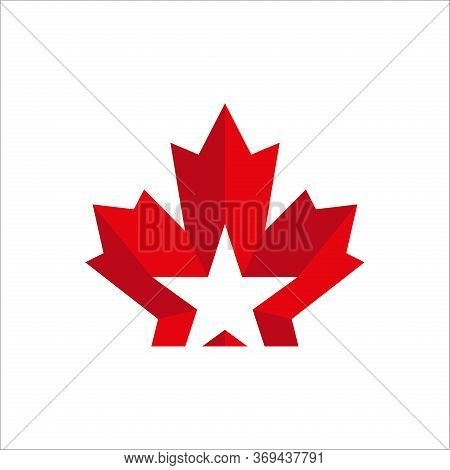 Maple Leaf With Star Logo Template Vector Icon Illustration, Maple Leaf Vector Illustration, Canadia