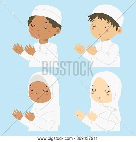 Muslim Kids Praying, Cartoon Vector Set. Half Body Muslim Boys And Girls In White Dress Praying.