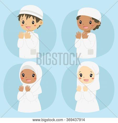 Happy Muslim Kids Praying, Cartoon Vector Set. Half Body Muslim Boys And Girls In White Dress Prayin
