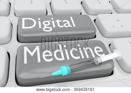 3d Illustration Of Computer Keyboard With The Script Digital Medicine On Two Buttons, And A Syringe