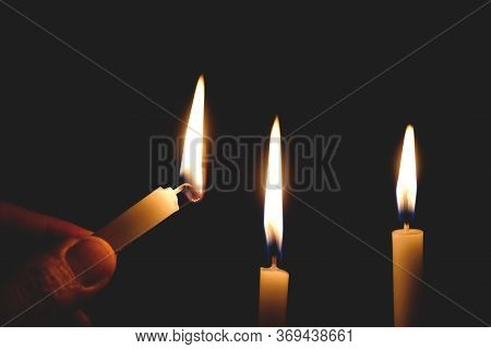 Candles In The Dark Design For The Background, Candles In The Dark, A Symbol Of The Christian Faith,
