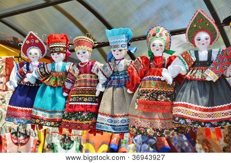 Line Of Dolls In Russian National Costume