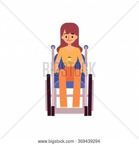 Smiling Handicapped Woman Sitting In Wheelchair In Front View Flat Cartoon Style