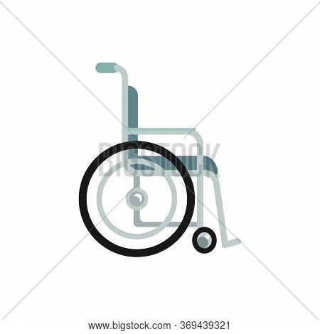 Wheelchair For Disabled Or Handicapped Patients Flat Vector Illustration Isolated.