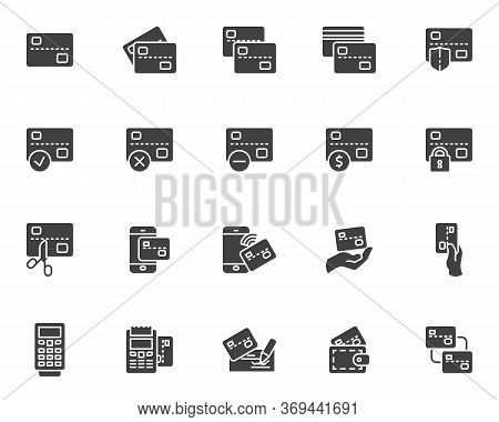 Credit Card Vector Icons Set, Modern Solid Symbol Collection, Filled Style Pictogram Pack. Signs, Lo