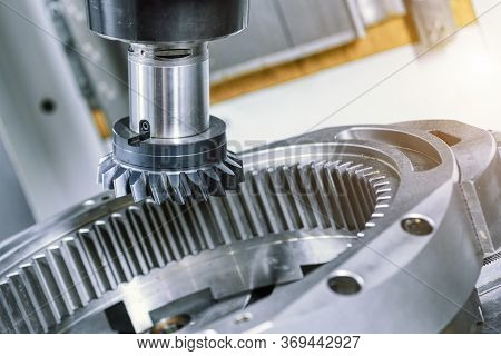 A Modern Cnc Milling Machine Makes A Large Gear Wheel. Gear Ring With Internal Tooth Arrangement.