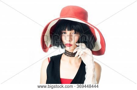 Hair Care And Styling. Barber Salon. Woman With Red Lips Mysterious Person. Girl Dreamy Face Wear Fa