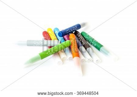 Bright Markers For Design. Markers On A White Background. Markers For Drawing.