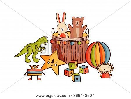 Composition Of Different Childish Toys Vector Flat Illustration. Various Hand Drawn Elements For Kid