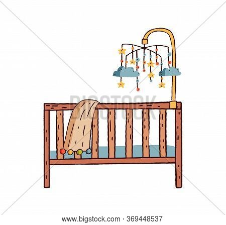 Hand Drawn Colorful Childish Cot Vector Flat Illustration. Baby Carousel With Hanging Toys Over Wood