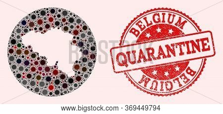 Vector Map Of Belgium Collage Of Coronavirus And Red Grunge Quarantine Seal Stamp. Infection Cells A