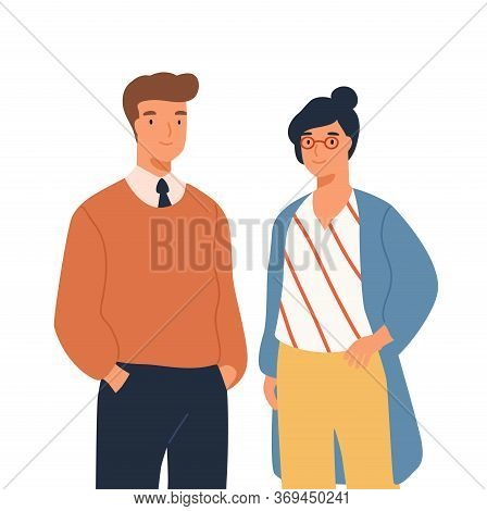 Portrait Of Funny Businessman And Businesswoman Standing Together Vector Flat Illustration. Two Styl