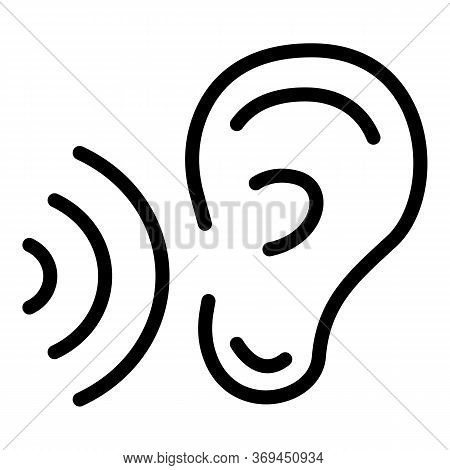 Hear Translator Speech Icon. Outline Hear Translator Speech Vector Icon For Web Design Isolated On W