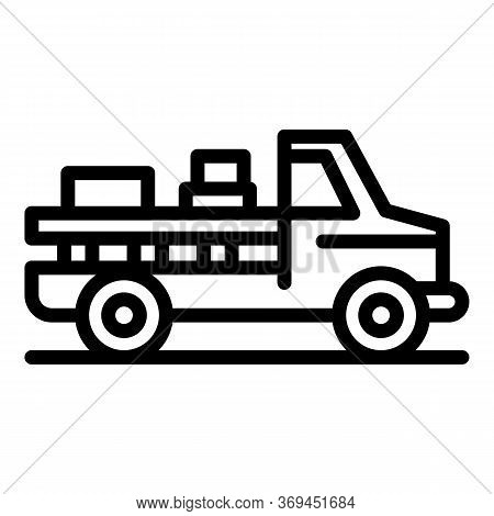 Farmer Pickup Car Icon. Outline Farmer Pickup Car Vector Icon For Web Design Isolated On White Backg