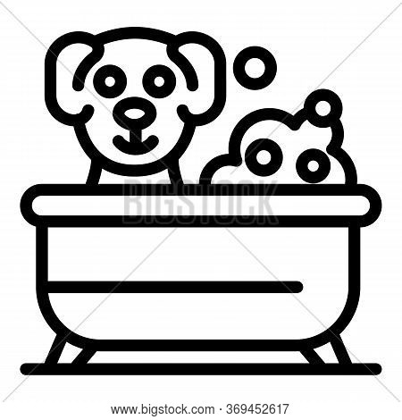Groomer Dog In Bathtub Icon. Outline Groomer Dog In Bathtub Vector Icon For Web Design Isolated On W