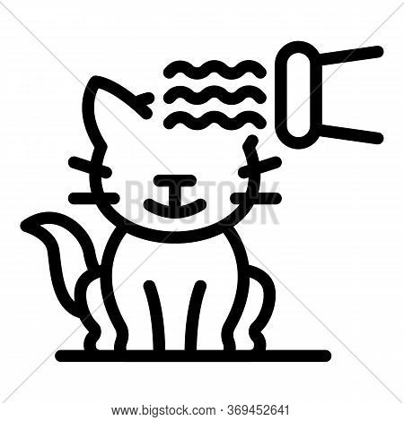 Groom Cat Hair Dryer Icon. Outline Groom Cat Hair Dryer Vector Icon For Web Design Isolated On White