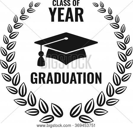 Graduation Black Logo Isolated On White Background. University Mortarboard. Badge For Banner, Poster