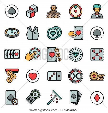 Croupier Icons Set. Outline Set Of Croupier Vector Icons For Web Design Isolated On White Background